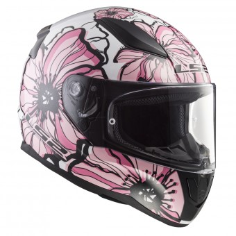 Casque Integral LS2 Rapid Poppies White Pink FF353