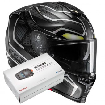 Casque Integral HJC RPHA 70 Black Panther Marvel MC5SF + Kit Bluetooth Sena SMH5