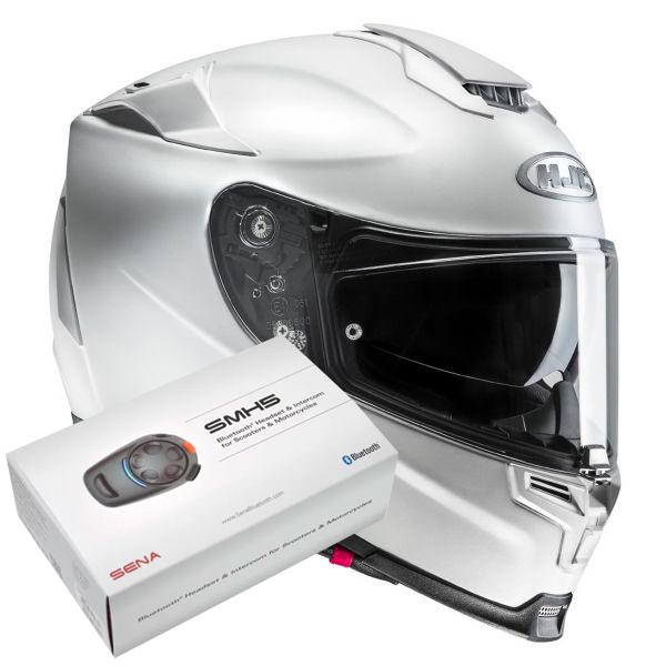 Casque Integral HJC RPHA 70 Semi Flat Pearl White + Kit Bluetooth Sena SMH5