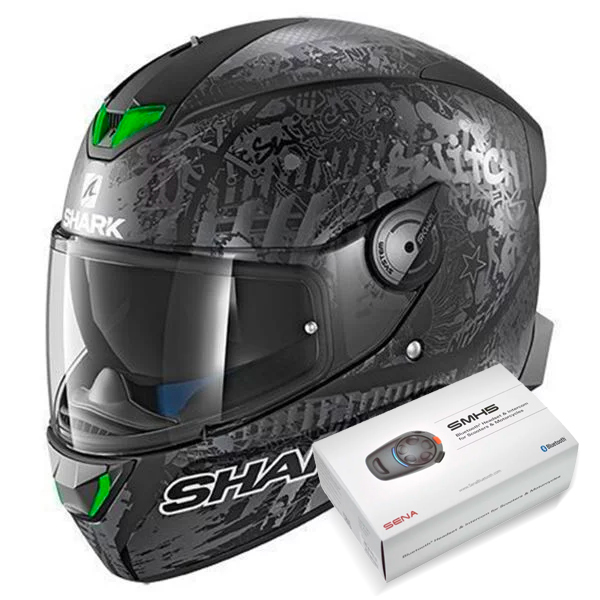 Casque Integral Shark Skwal 2 Replica Switch Riders 2 Mat KAS + Kit Bluetooth Sena SMH5