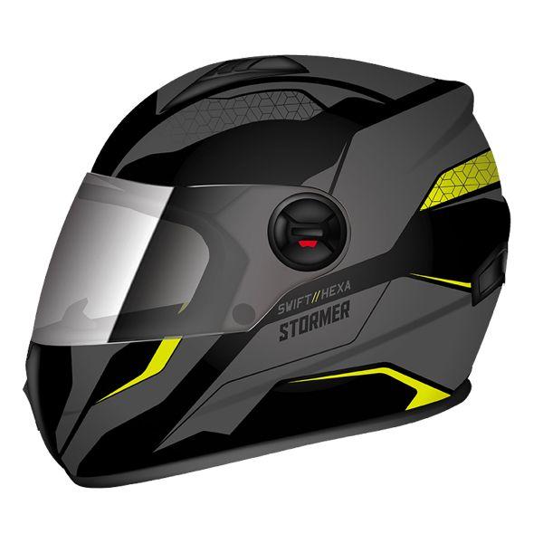 Casque Integral Stormer Swift Hexa Jaune Gris Mat