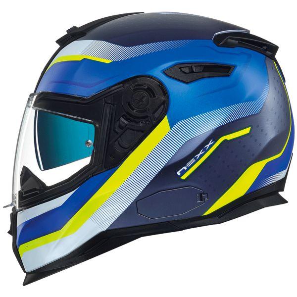 Casque Integral Nexx SX.100 Mantik Blue Neon Yellow Matt
