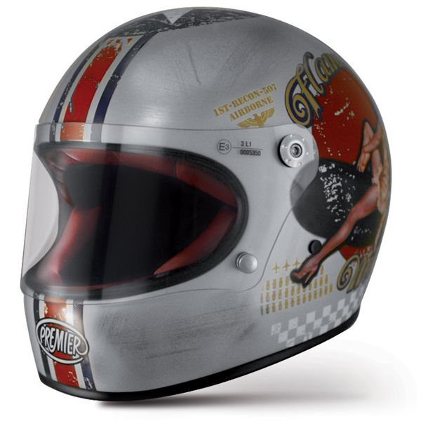 Casque Integral Premier Trophy Pinup Old Style Silver