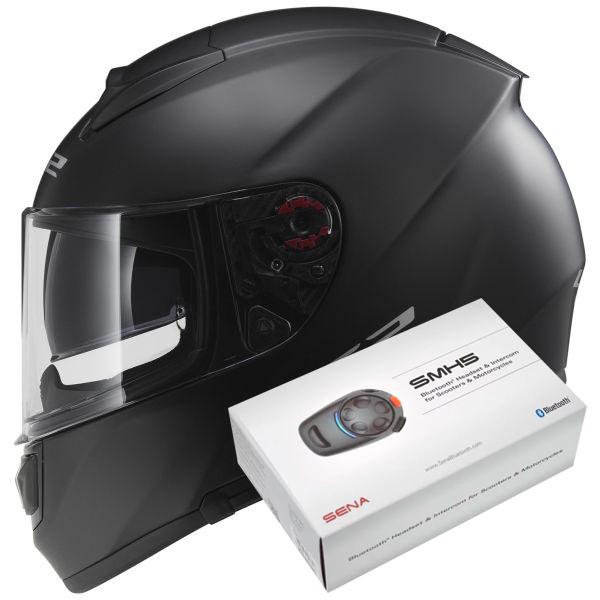 Casque Integral LS2 Vector Matt Black FF397 + Kit Bluetooth Sena SMH5
