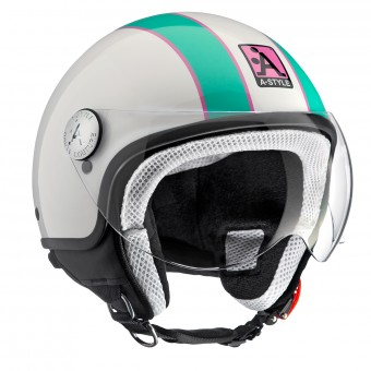 Casque Jet Astyle A-Style White Green