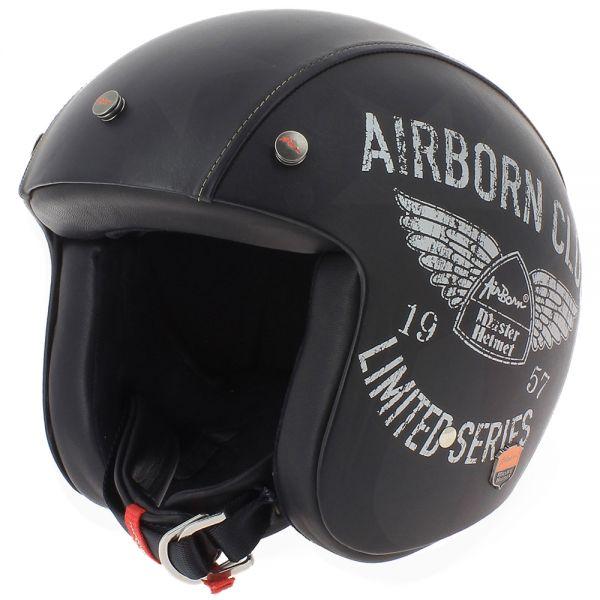 Casque Jet Airborn Steve AB+ 42 Black Leather