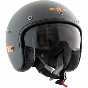 Casque Jet HARISSON Corsair Star Deco Gris Mat Orange