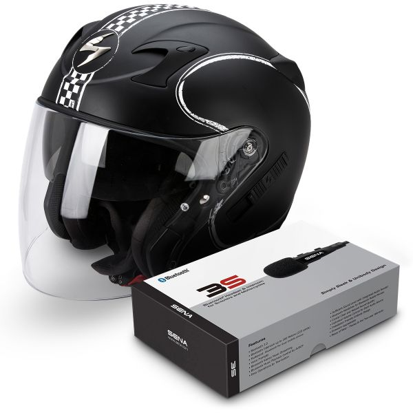 Casque Jet Scorpion Exo 220 Bixby Matte Black White + Kit Bluetooth Sena 3S