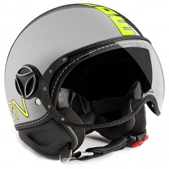 Casque Jet Momo Design FGTR Evo Grey Yellow Fluo
