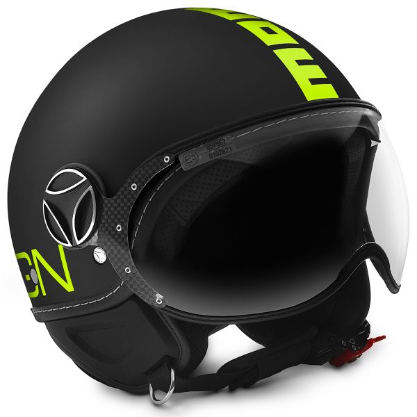 Casque Jet Momo Design FGTR Fluo Matt Black Fluo Yellow