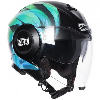Casque Jet AGV Fluid Kew Matt Black Lime Aqua