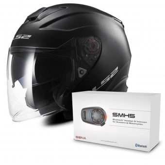 Casque Jet LS2 Infinity Matt Black OF521 + Kit Bluetooth Sena SMH5