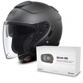 Casque Jet Shoei J-Cruise Anthracite Mat + Kit Bluetooth Sena SMH5