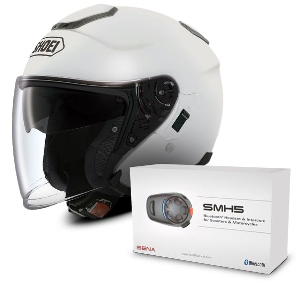 Casque Jet Shoei J-Cruise Blanc + Kit Bluetooth Sena SMH5