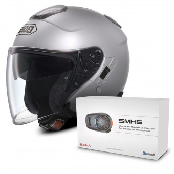 Casque Jet Shoei J-Cruise Gris + Kit Bluetooth Sena SMH5