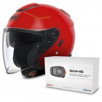 Casque Jet Shoei J-Cruise Rouge + Kit Bluetooth Sena SMH5