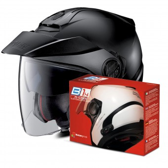 Casque Jet Nolan N40 5 Classic N-Com Flat Black 10 + Kit Bluetooth B1.4