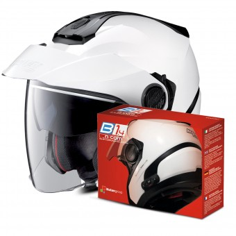 Casque Jet Nolan N40 5 Classic N-Com White 5 + Kit Bluetooth B1.4
