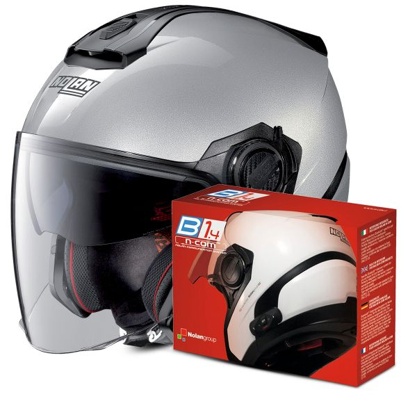 Casque Jet Nolan N40 5 Special N-Com Salt Silver 11 + Kit Bluetooth B1.4