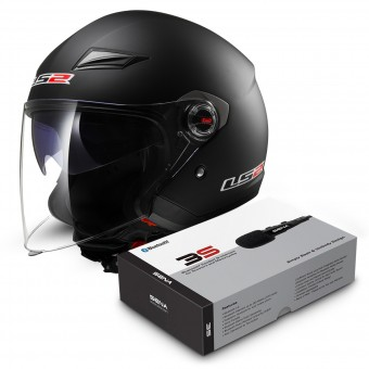 Casque Jet LS2 Track Matt Black OF569 + Kit Bluetooth Sena 3S