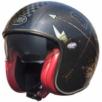 Casque Jet Premier Vintage Carbon NX Gold Chromed
