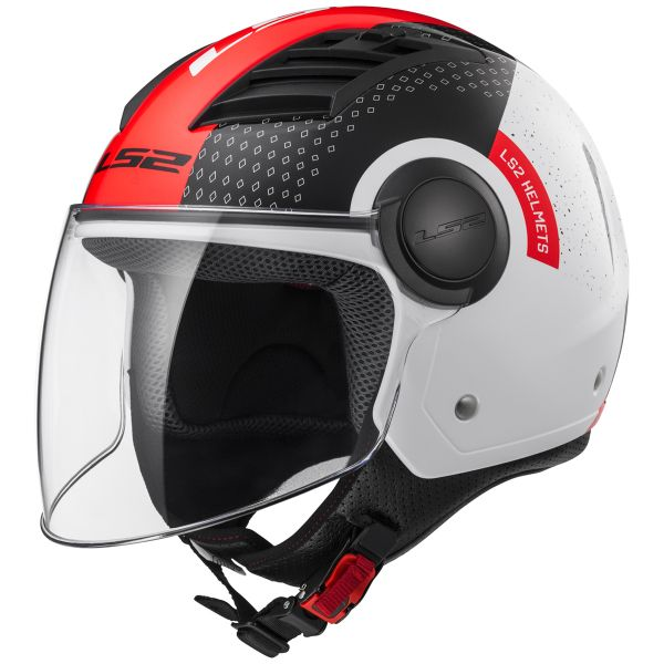 Casque Jet LS2 Airflow Condor White Black Red Long OF562