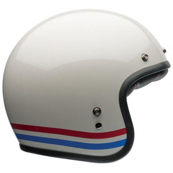 Casque Jet Bell Custom 500 Stripes Pearl White Dlx