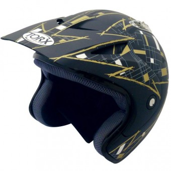 Casque Jet Torx Doug Noir Or