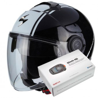 Casque Jet Scorpion Exo City Avenue Black White + Kit Bluetooth Sena SMH5