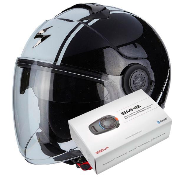 Casque Jet Scorpion Exo City Avenue Black White + Kit Bluetooth Sena SMH5