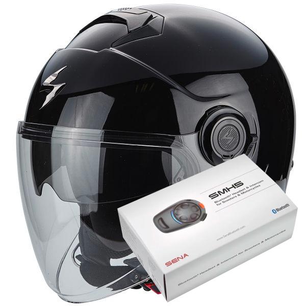Casque Jet Scorpion Exo City Black + Kit Bluetooth Sena SMH5