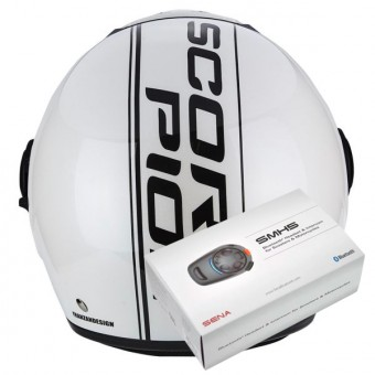 Casque Jet Scorpion Exo City Edge Pearl White Black + Kit Bluetooth Sena SMH5