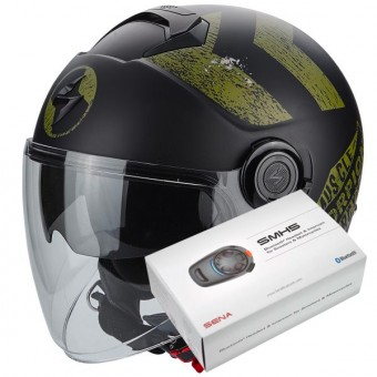 Casque Jet Scorpion Exo City Heritage Matt Black Khaki + Kit Bluetooth Sena SMH5