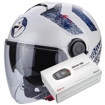Casque Jet Scorpion Exo City Heritage White Blue + Kit Bluetooth Sena SMH5