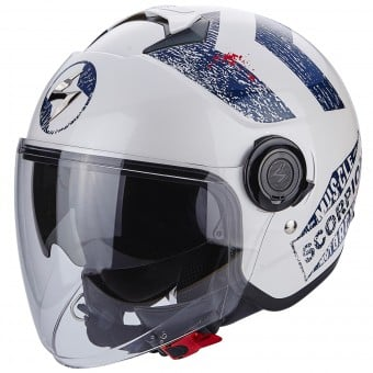 Casque Jet Scorpion Exo City Heritage White Blue