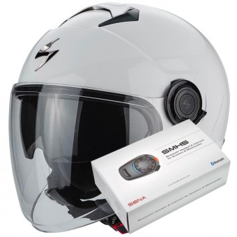 Casque Jet Scorpion Exo City White + Kit Bluetooth Sena SMH5