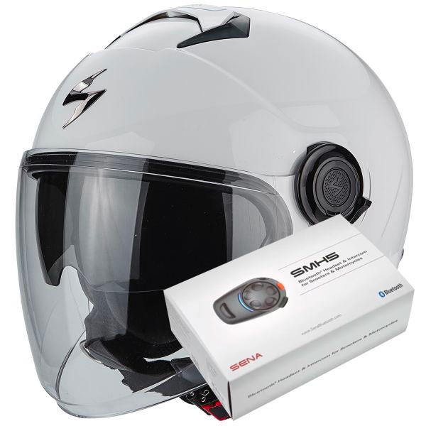 Casque Jet Scorpion Exo City White + Kit Bluetooth Sena SMH5