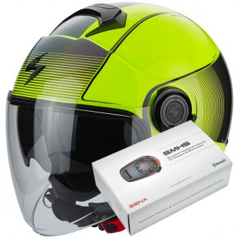 Casque Jet Scorpion Exo City Wind Neon Yellow Black + Kit Bluetooth Sena SMH5