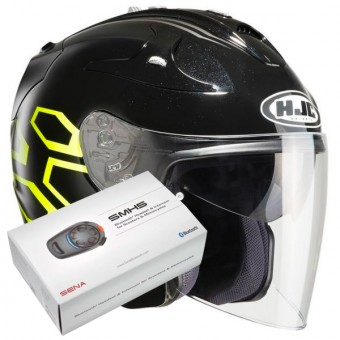 Casque Jet HJC FG-Jet Dukas MC4H + Kit Bluetooth Sena SMH5