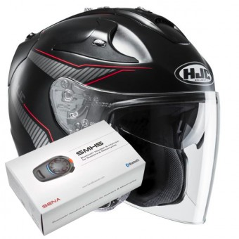 Casque Jet HJC FG-Jet Jike MC1SF + Kit Bluetooth Sena SMH5