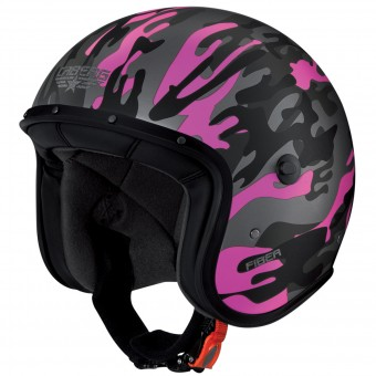 Casque Jet Caberg Freeride Commander Matt Green Fucsia