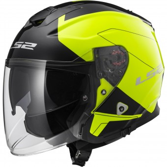 Casque Jet LS2 Infinity Beyond Black H-V Yellow OF521