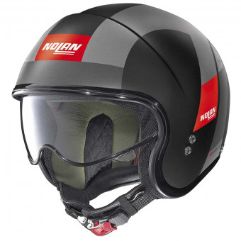 Casque Jet Nolan N21 Spheroid Flat Black Rouge 76