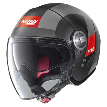 Casque Jet Nolan N21 Visor Spheroid Flat Black Red 51