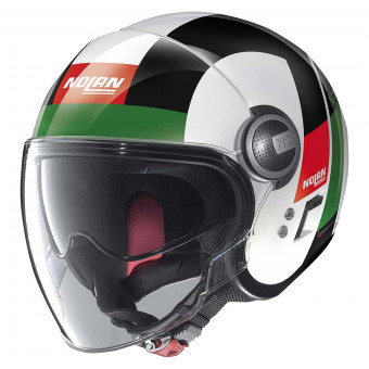 Casque Jet Nolan N21 Visor Spheroid Metal White Green 45