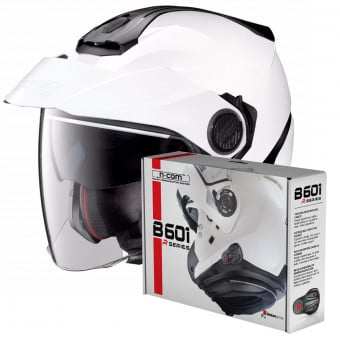 Casque Jet Nolan N40 5 Classic N-Com White 5 + Kit Bluetooth B601R