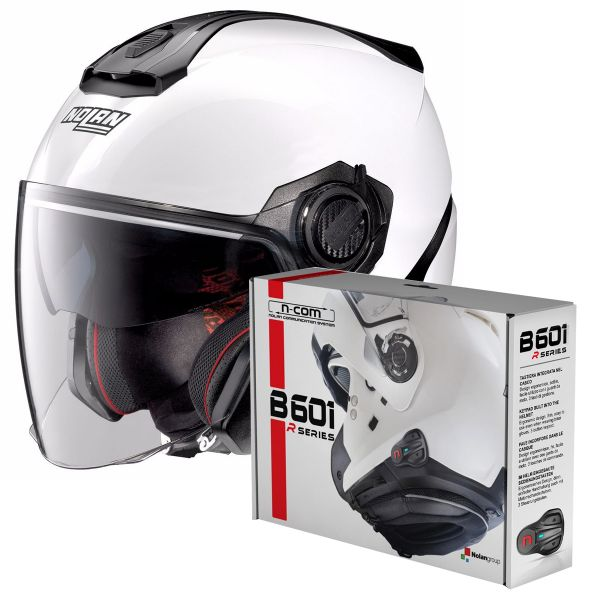 Casque Jet Nolan N40 5 Special N-Com White 15 + Kit Bluetooth B601R