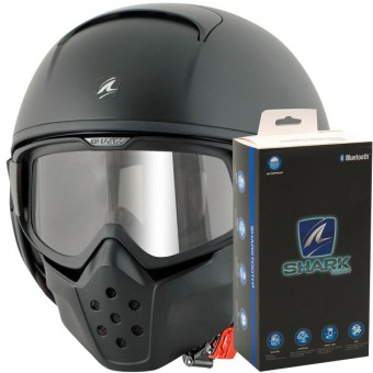 Casque Jet Shark Drak Blank Mat KMA+ Kit Bluetooth Sharktooth