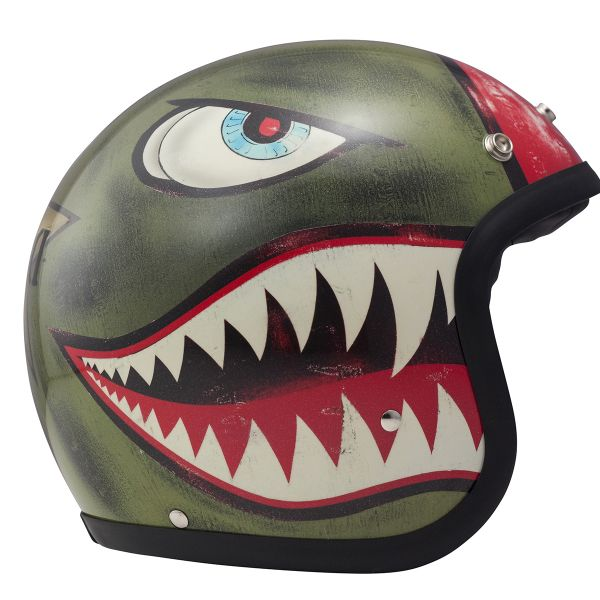 Casque Jet Dmd Vintage King Green
