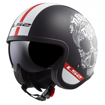 Casque Jet LS2 Spitfire Inky Matt Black White OF599
